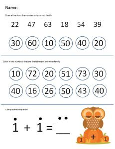 printable kindergarten math number families adding on 1