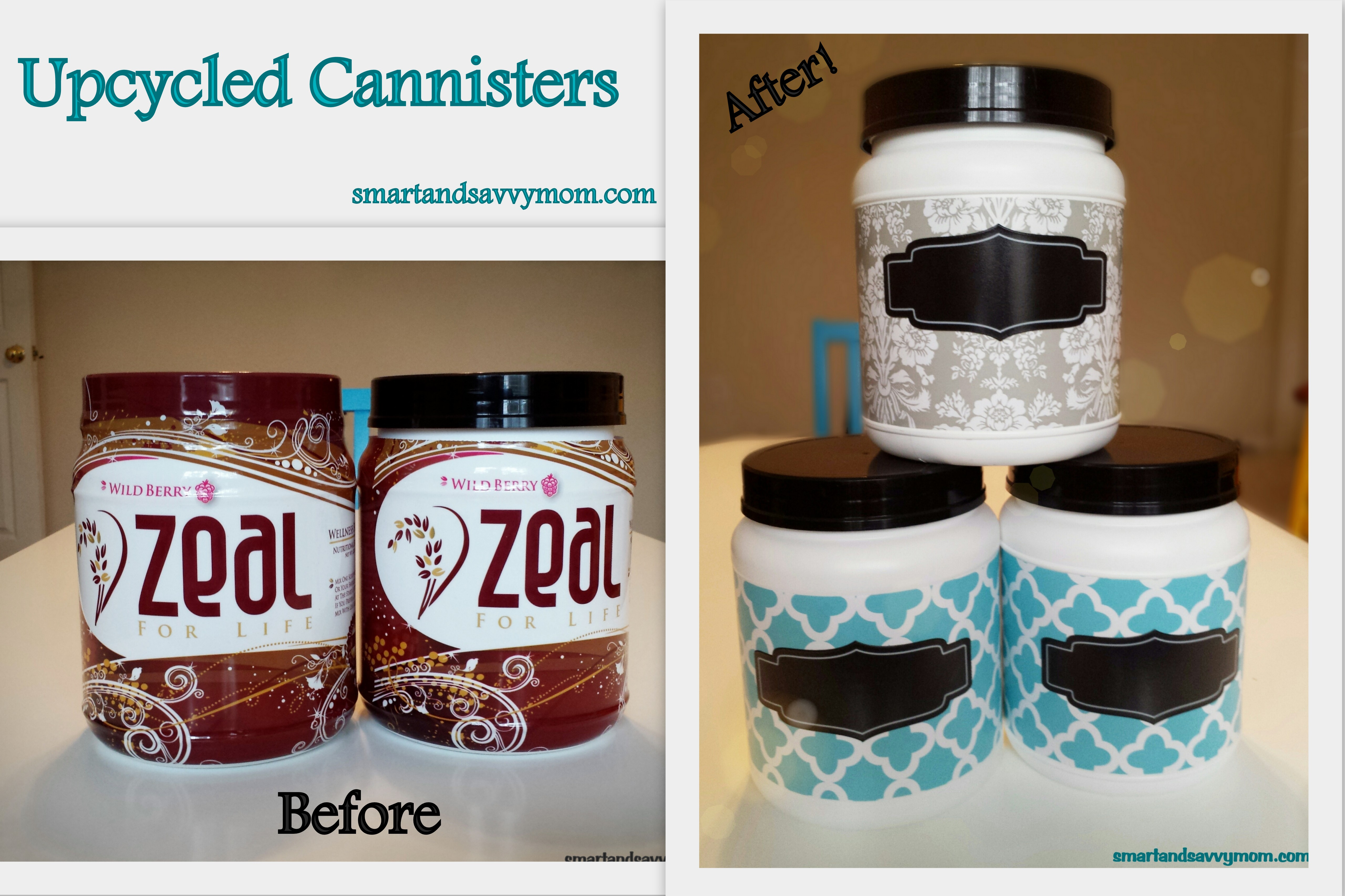 before and after upcycled, recycled, repurposed, canisters