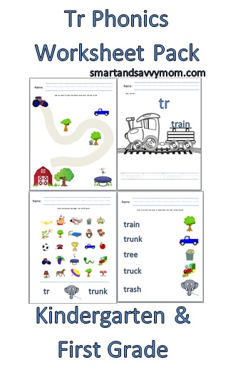 tr consonant blend free printable worksheet pack kindergarten - smartandsavvymom