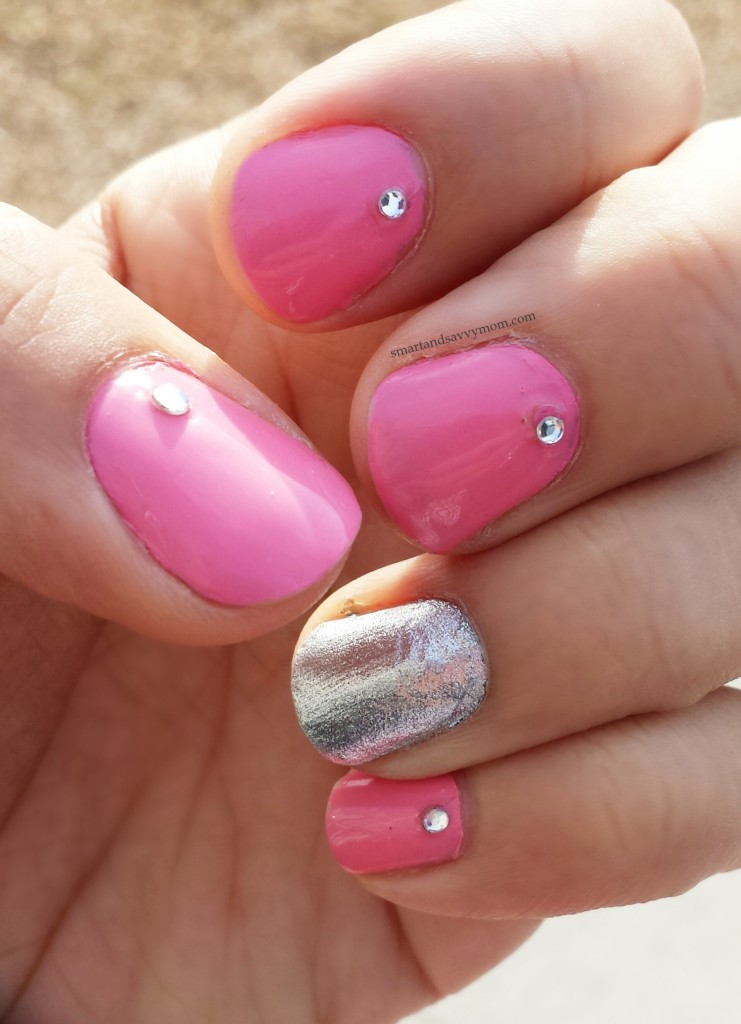 pink nails nail art with jewel accents silver accent nail