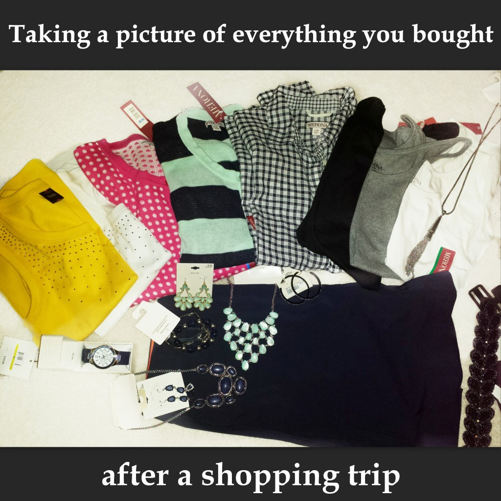 taking a picture of everything you bought purchased after a shopping trip