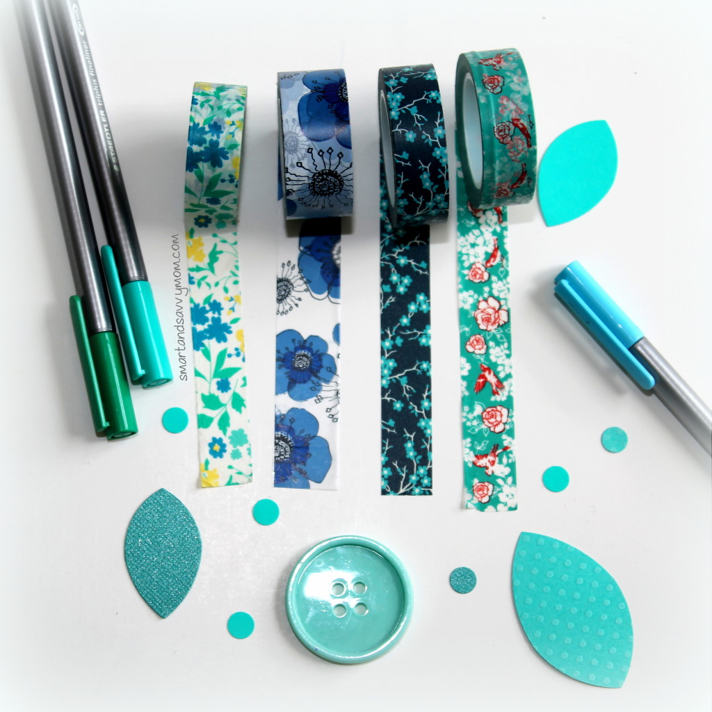 teal turquoise and blue floral washi tape for planner, erin condren