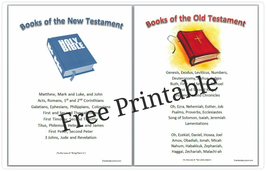 books of the bibile free printable song card preview