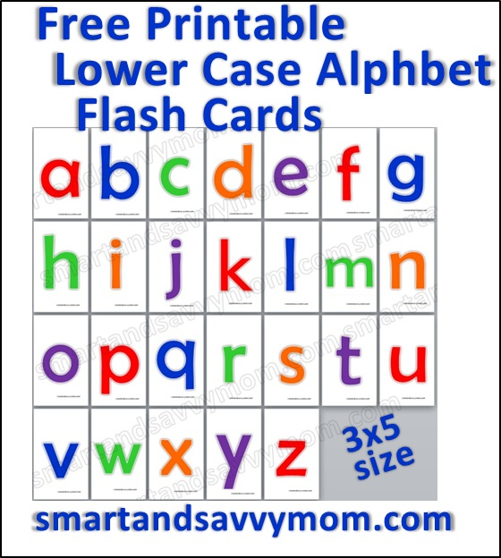 colorful lower case flash cards free printable from smartandsavvymom.com