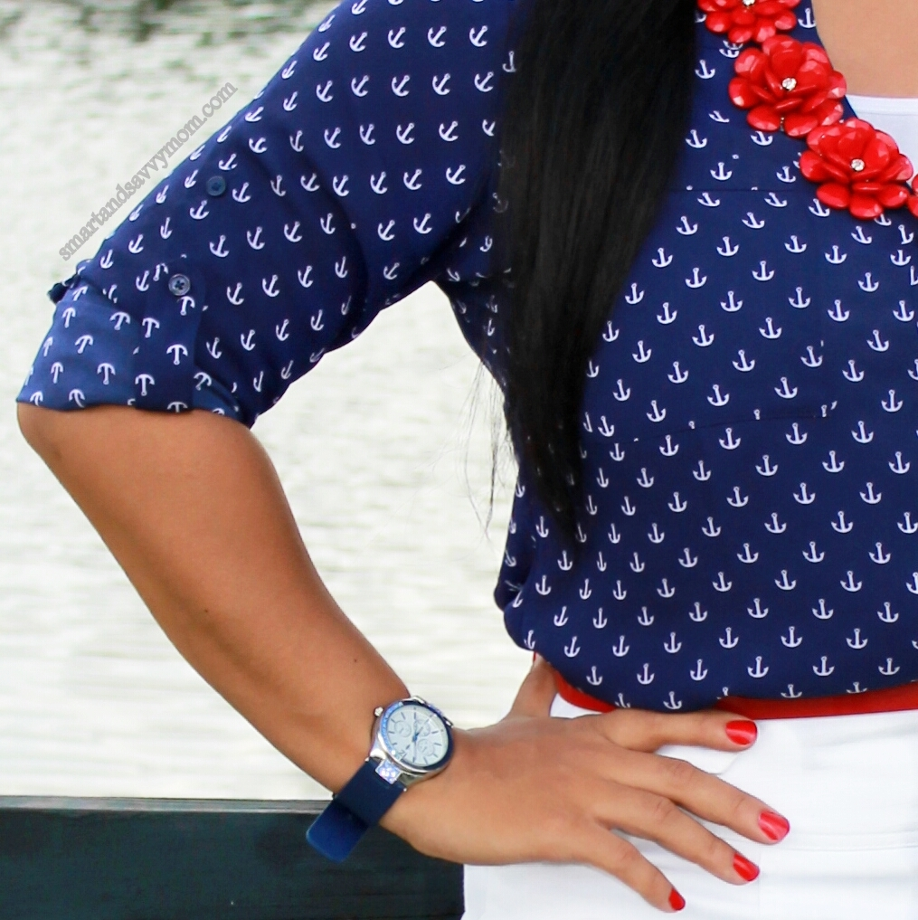 nautical outfit with anchor prints, modest fashion