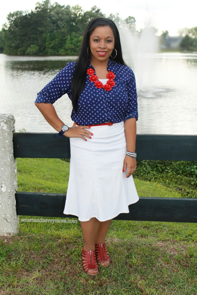 nautical summer style, navy print anchor top with white and pops of red