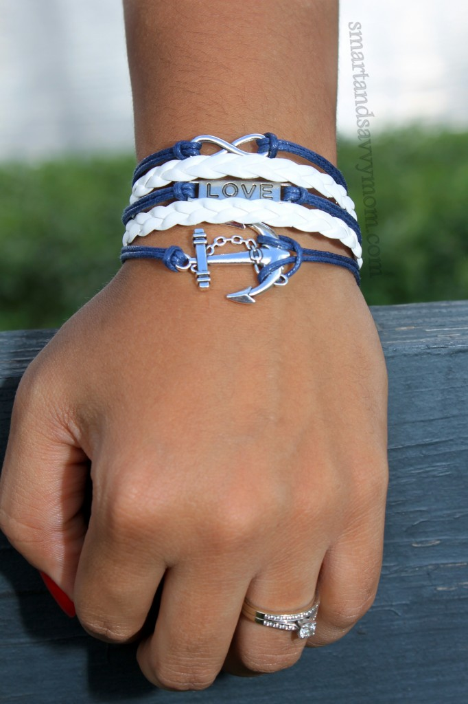 nautical summer style anchor prints and white  anchor bracelet from Amazon