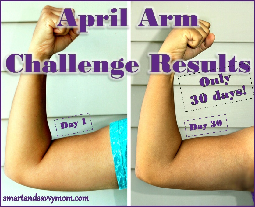 april 30 day easy 5 minute arm challenge results pictures side by side before and after
