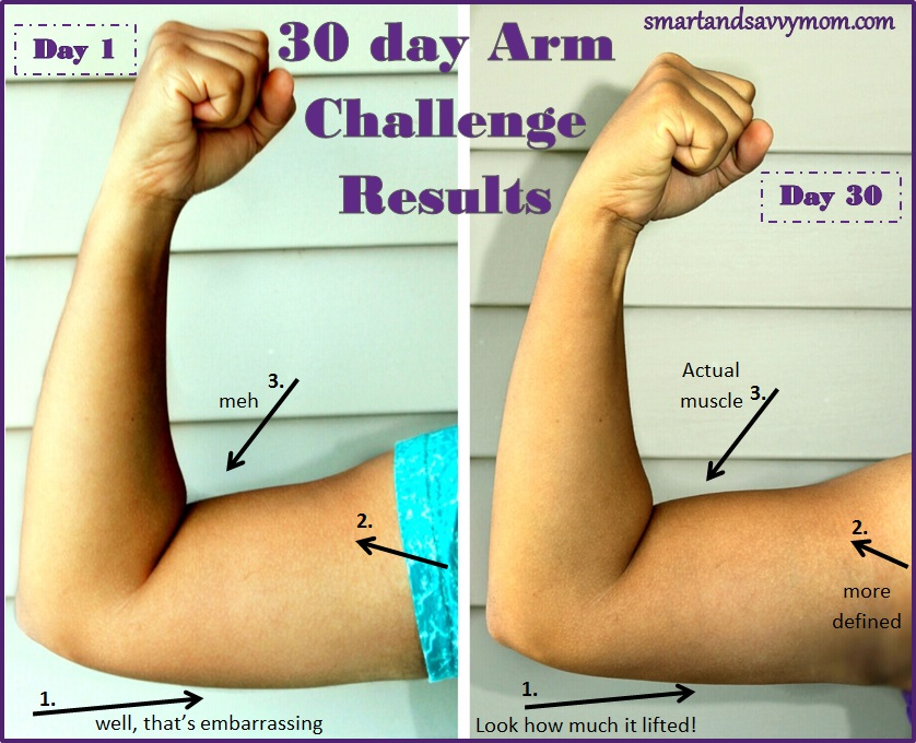 april 30 day easy 5 minute arm challenge results pictures with labels 1 and 30