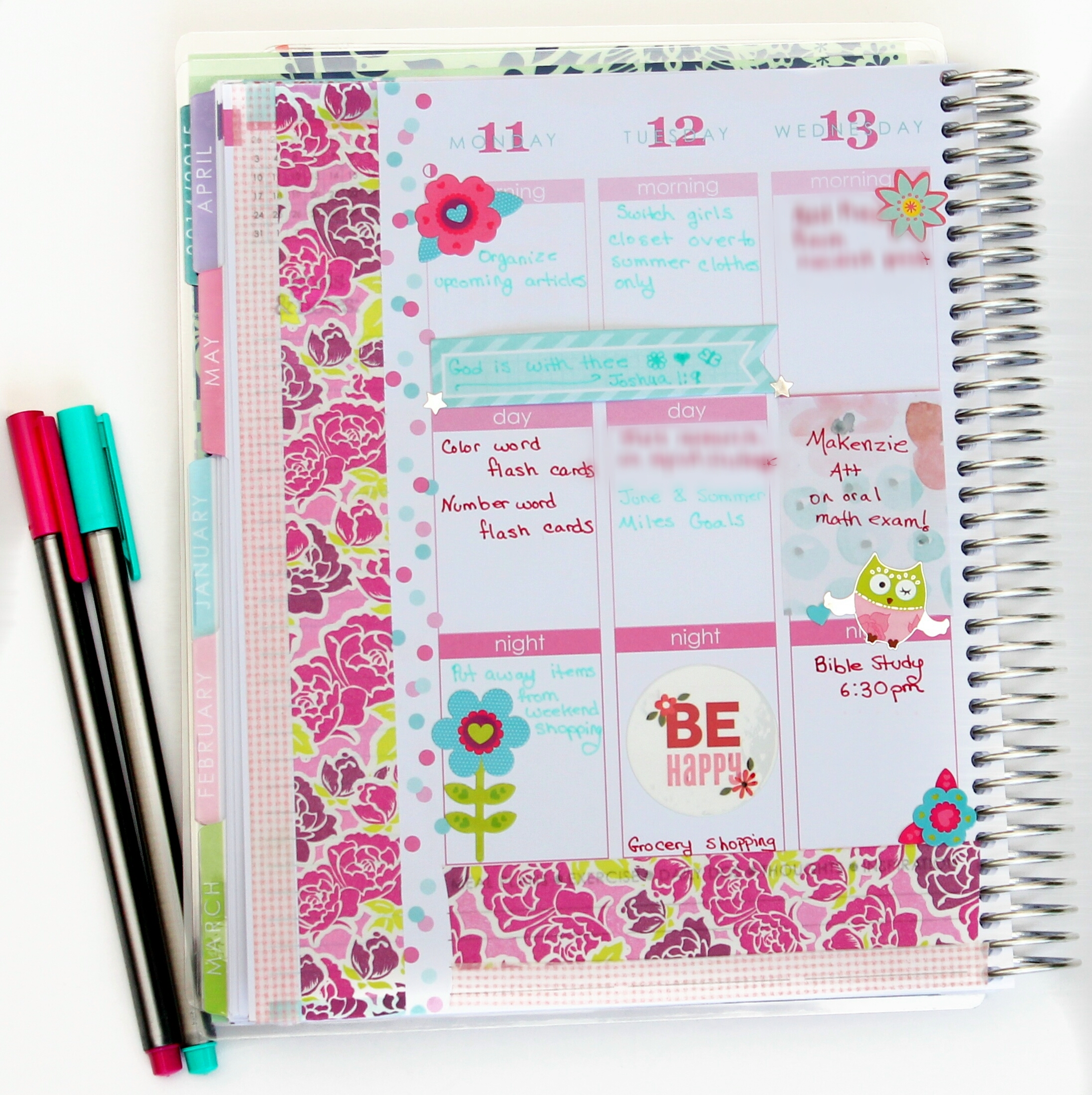 my May 2015 decorated planner pages in my Erin Condren Planner using washi tape, masking tape and stickers