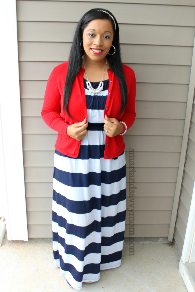 red cardigan, navy and white striped dress, pearl jewelry, modest outfit idea for less than $20
