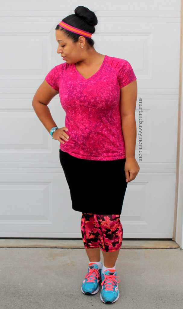 pink and orange and black running outfit. Workout outfit with skirt. Modest running outfit