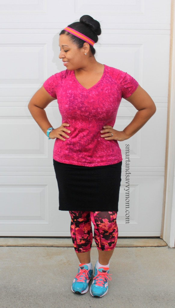 pink and orange and black modest running, fitness, workout, outfit idea