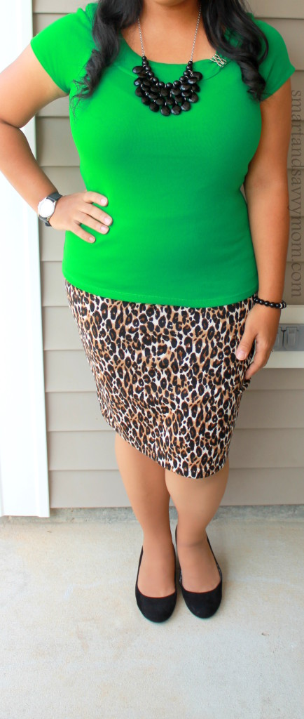 leopard print and green modest outfit idea