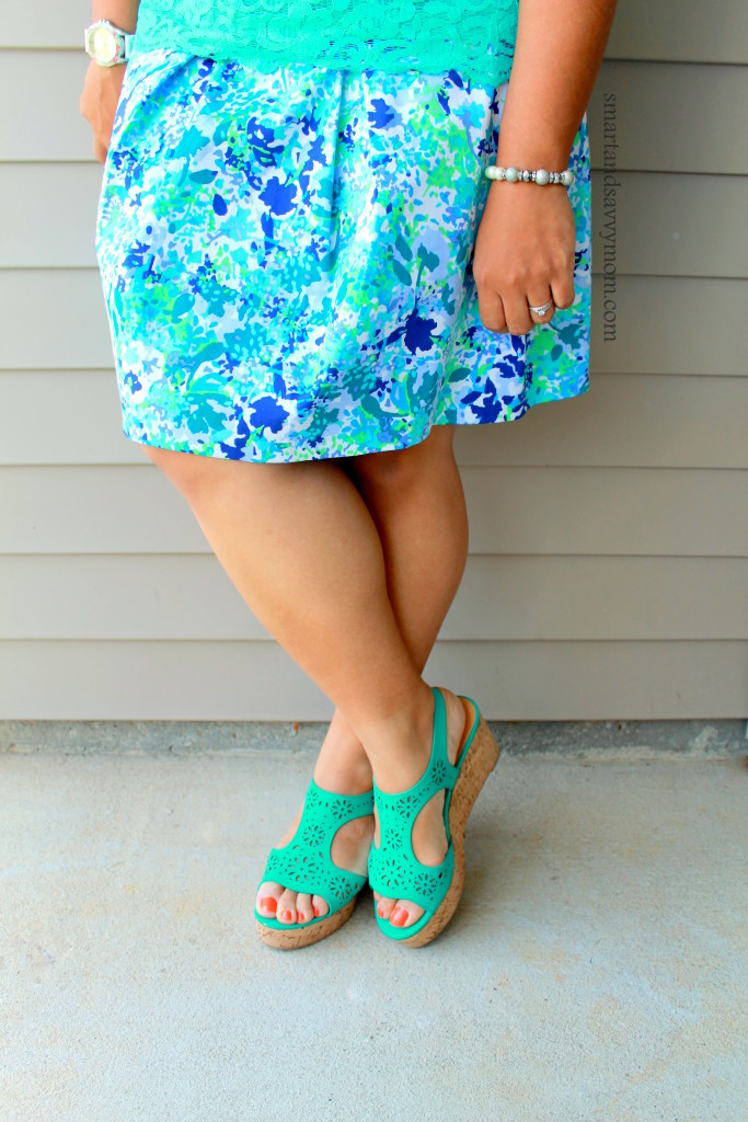 purple, teal, and white floral skirt with teal wedges