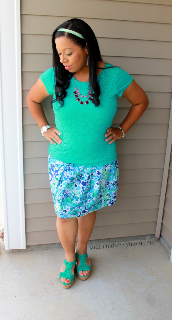 Teal lace and purple pleated skirt great easy mom outfit idea