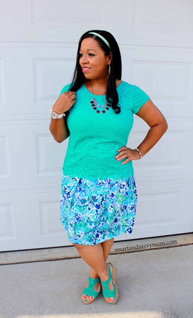 teal lace top with pleated floral skirt modes otufit idea