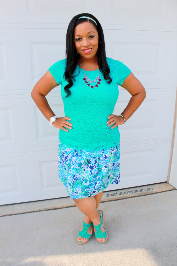 teal lace and purple statement necklace with pleated floral skirt and teal sandal wedges modest outfit idea