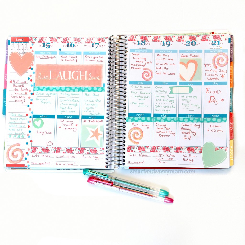 june planner pages easy hearts and flower theme weekly  spread; decorated erin condren planner pages