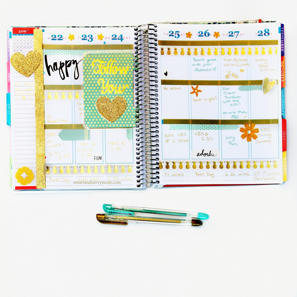 june planner pages gold and mint decorated erin condren planner pages