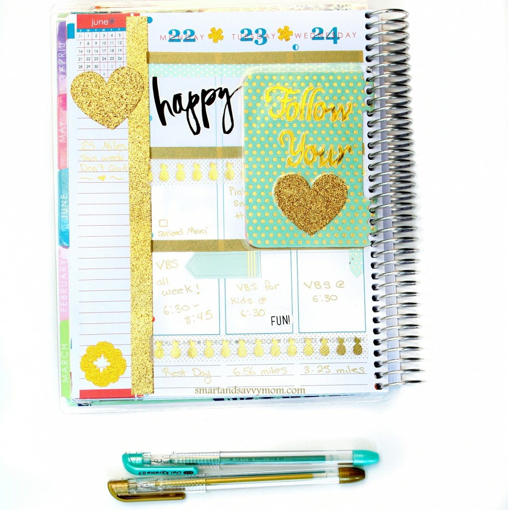 june planner pages gold and mint decorated erin condren planner pages; left side