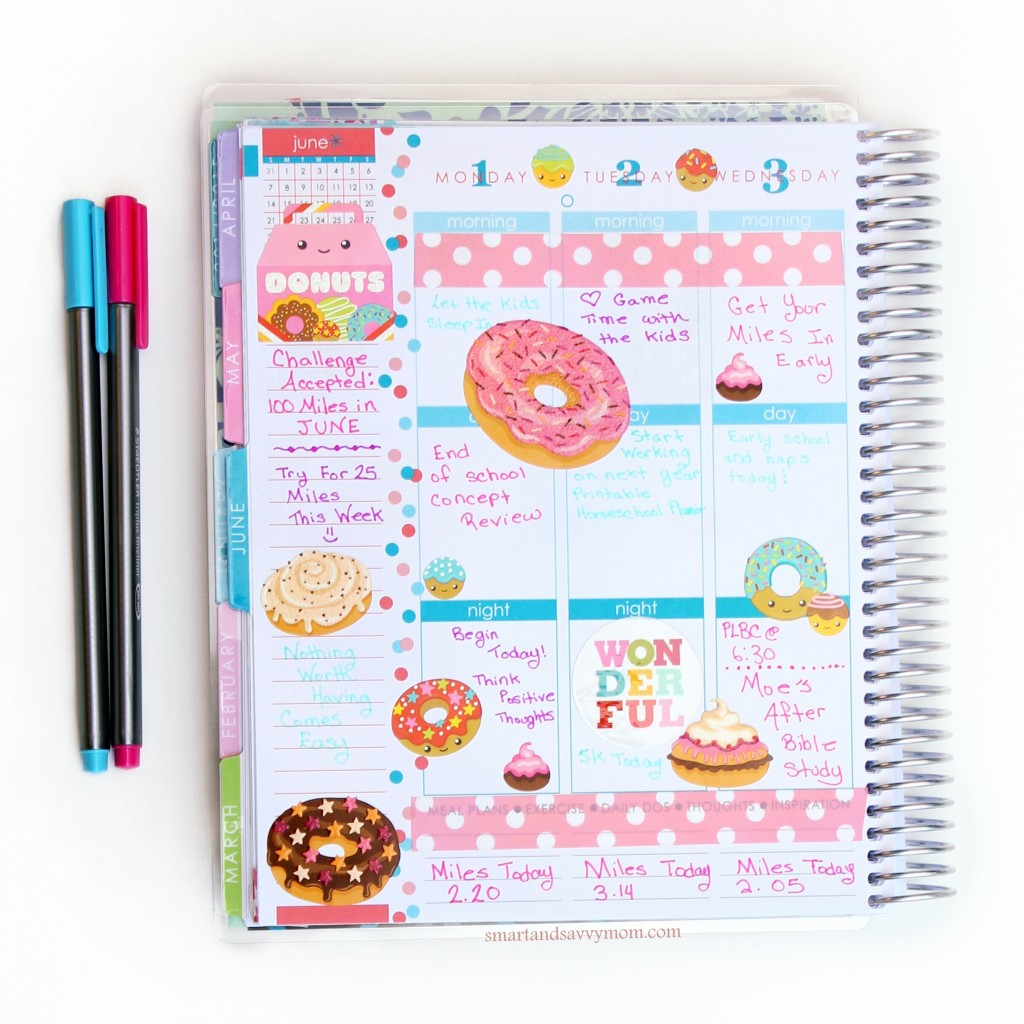 june planner pages national donut week donut themed planner pages left side of weekly spread decorated planner pages