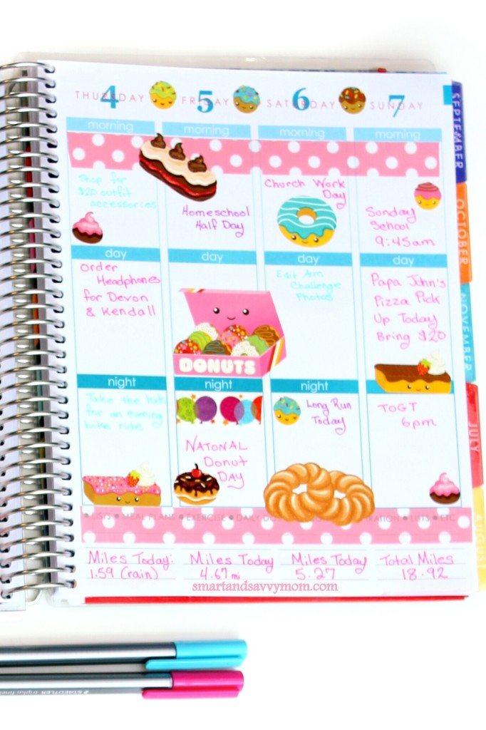 june planner pages national donut week donut themed planner pages right side of weekly spread decorated planner pages