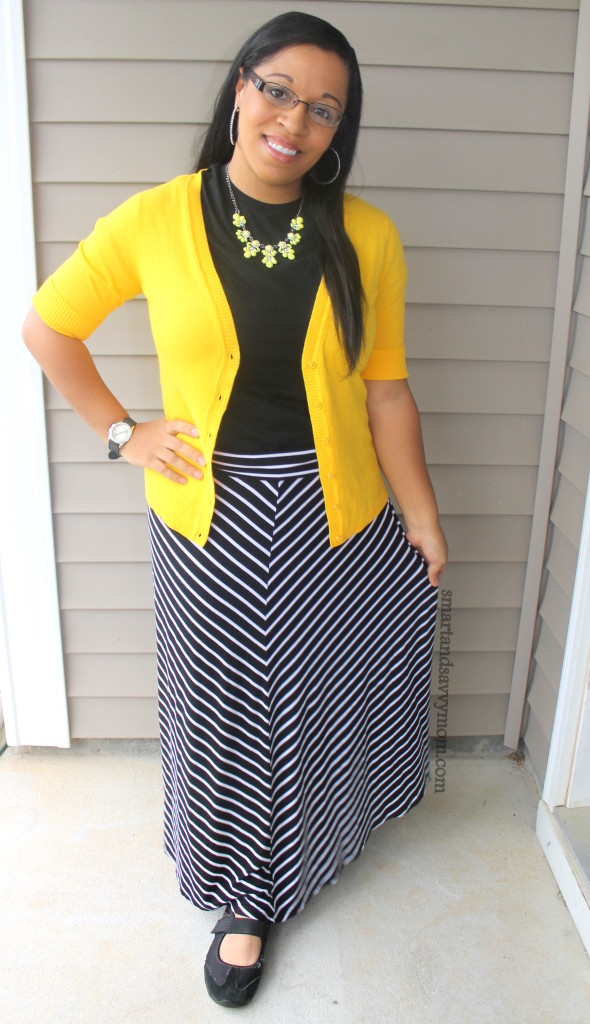 black and white striped maxi skirt with pop of yellow. Adding color to your summer wardrobe