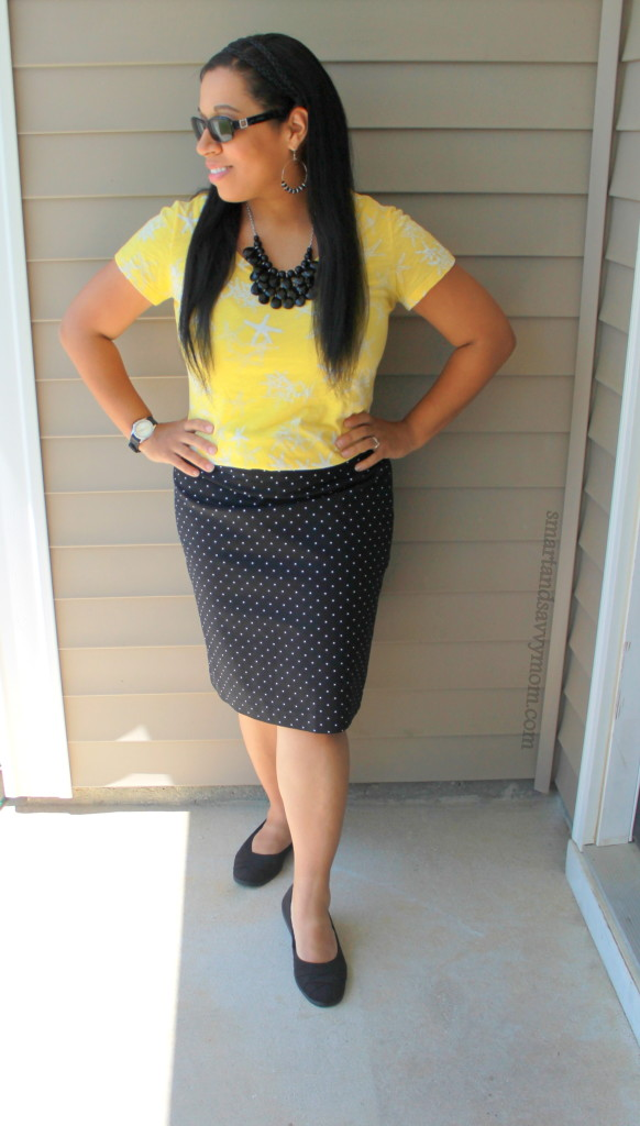 Easy pattern mixing, yellow star print top with polka dot print pencil skirt, easy modest outfit idea