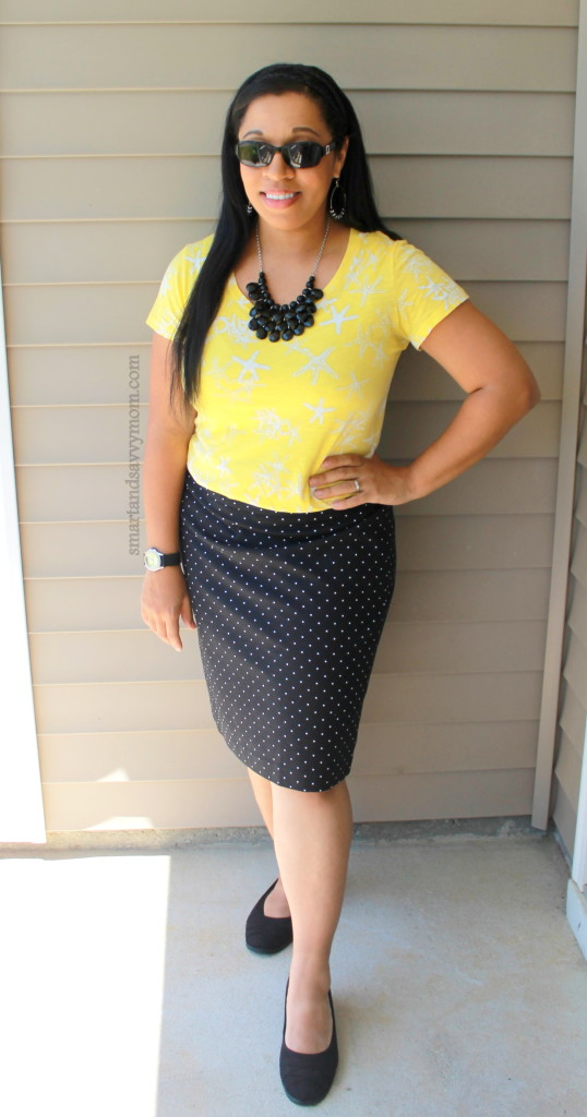 star print top and polka dot skirt, easy summer pattern mixing