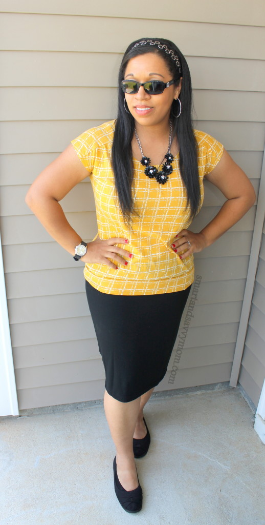 mustard yellow top with black maxi pencil skirt modest summer outfit idea