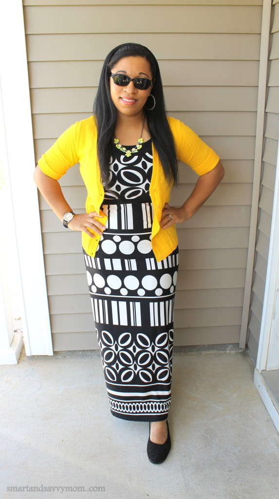 black and white maxi dress with pop of yellow cardigan; modest outfit idea -smartandsavvymom.com