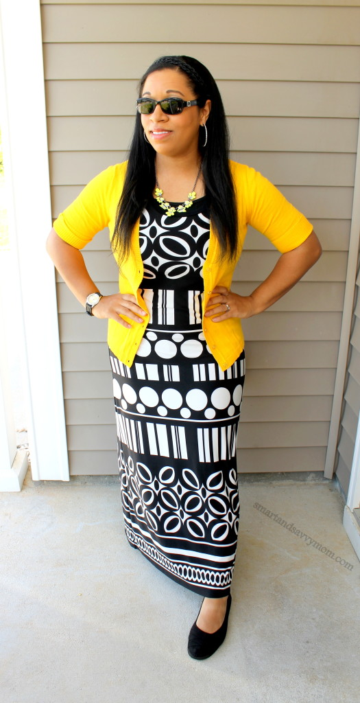 yellow and black printed maxi dress with yellow cardigan, easy way to add color to your summer outfit