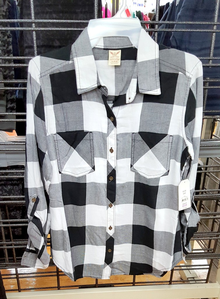 black and white buffalo plaid button front top - fab fall fashion finds from walmart 2015