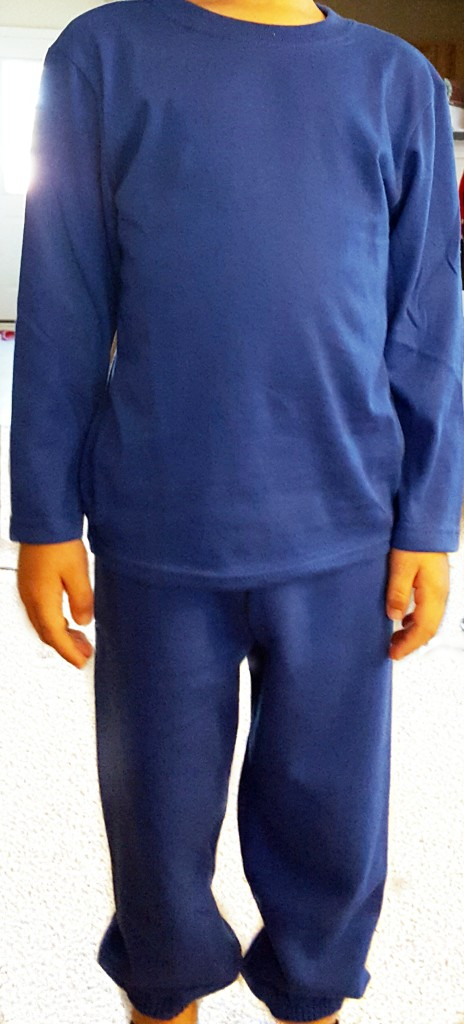 blue sweats and long sleeve tee. From walmart, boys size, perfect for costume making