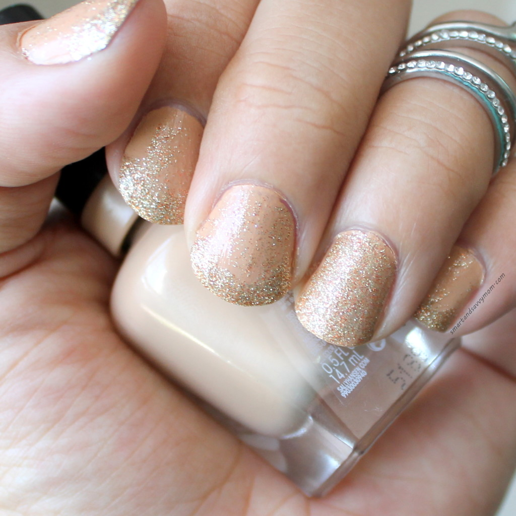 nude and gold glitter nails