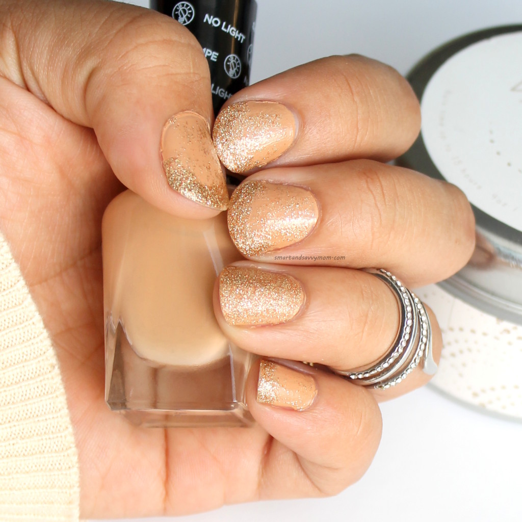 fall nails, nude and gold glitter manicure