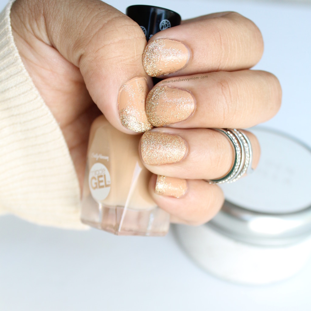 gold glitter faill diy nails/ manicure