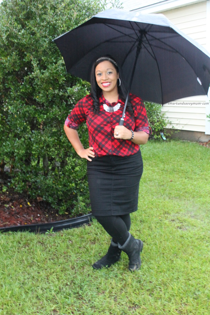 red and black plaid top with black pencil skirt and boots, modest outfit idea