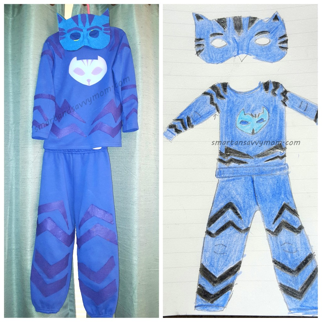 finished hanging,diy pj masks, catboy halloween costume