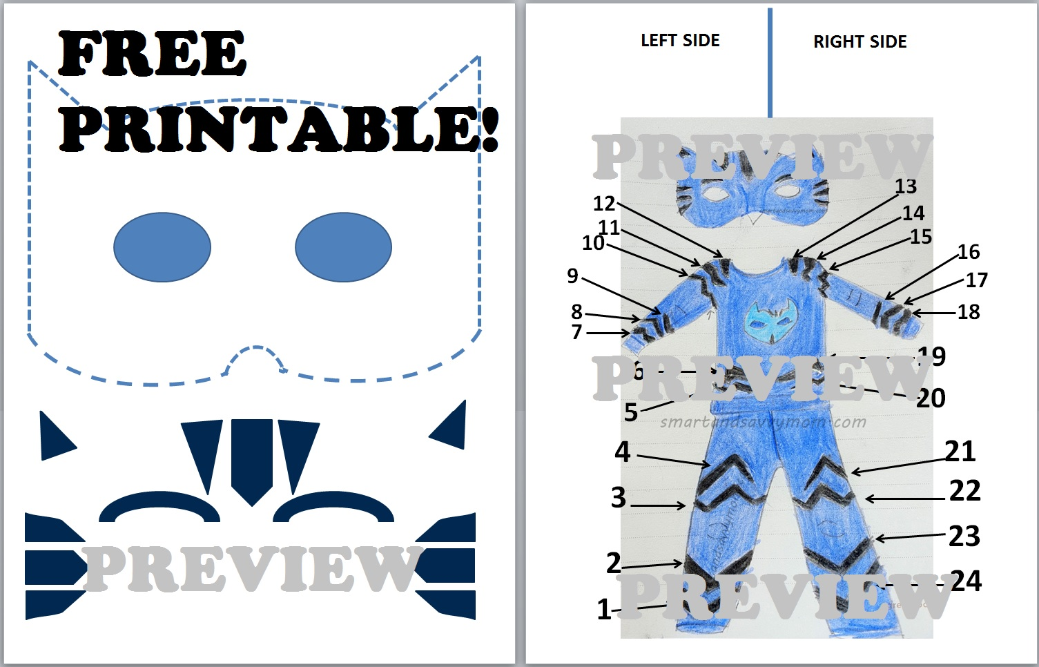 07f4eb0db Free Printable Template For Diy Catboy Pj Cat Hero Preview Sc 1 St Smart  And Savvy Mom