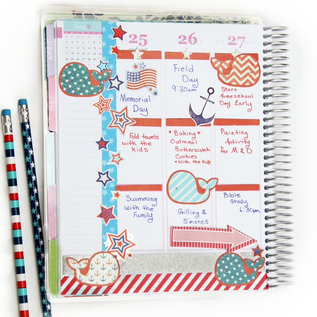 patriotic planner pages, red white and blue, 4th of July, Memorial Day, #planner #erincondren #eclp