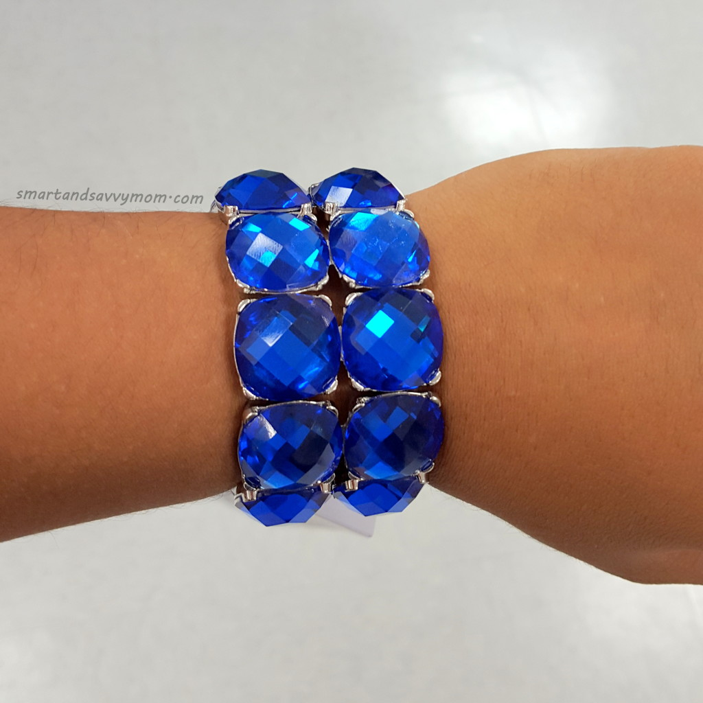 gorgeous blue crystal stacked bracelet great find at Burke's outlet - shop with me