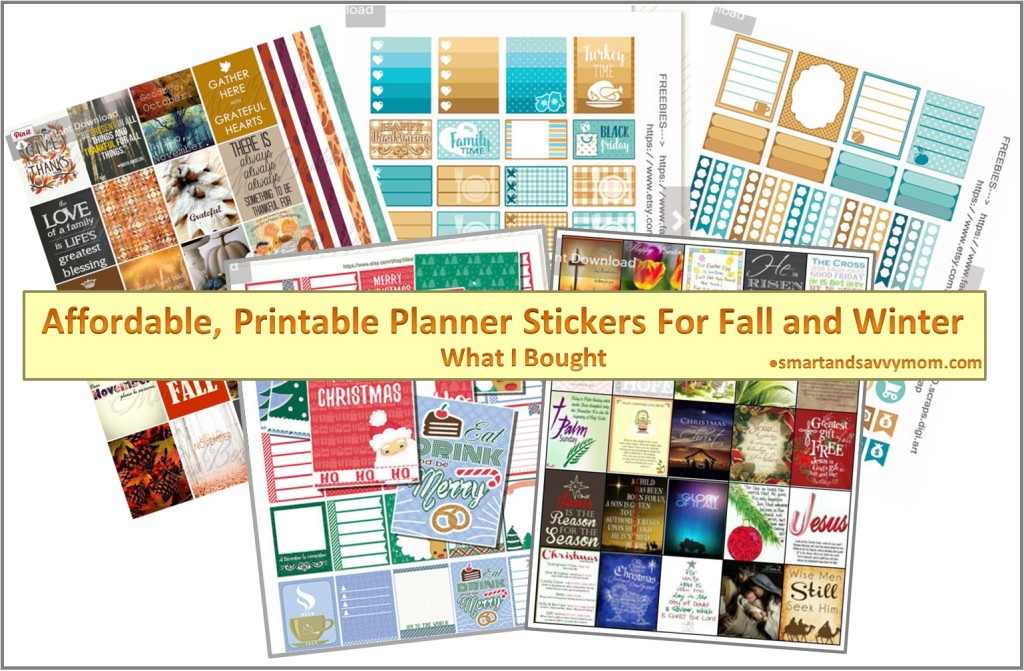 Affordable, cheap planner printables fall and winter from Etsy