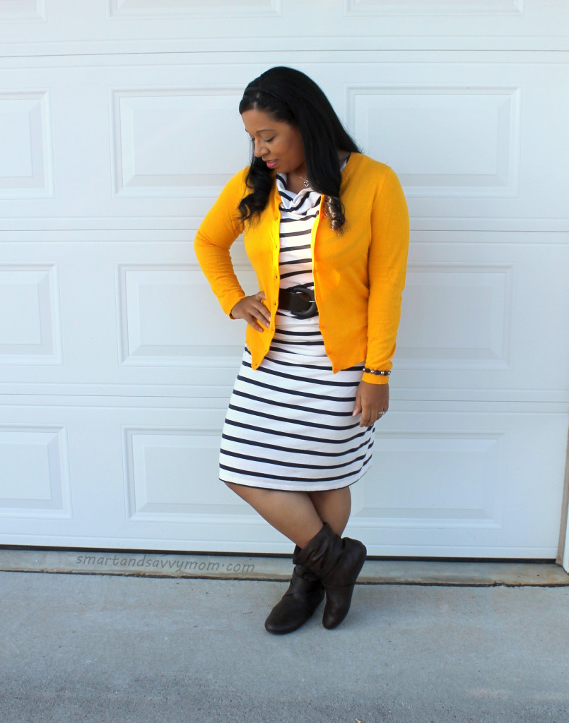 mustard yellow cardigan and striped dress, easy modest fall fashion outfit idea