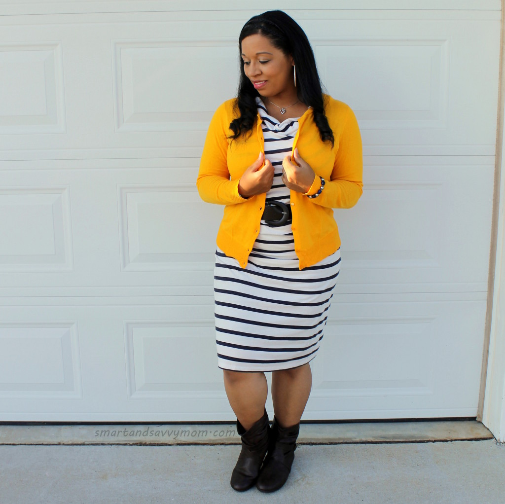 Yellow cardigan and stripes, easy modest outfit idea for fall with boots