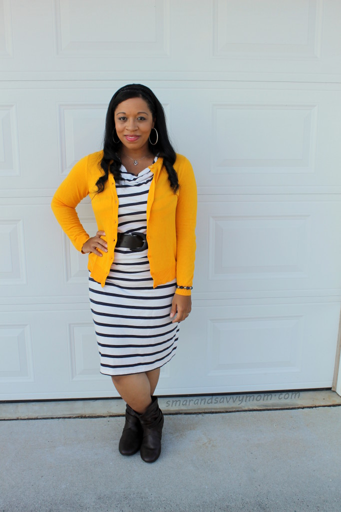mustard cardigan, navy and white striped dress, and brown boots, modest fall outfit