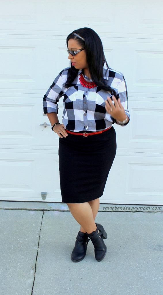 black and whtie buffalo plaid with red accents easy modest outfit idea