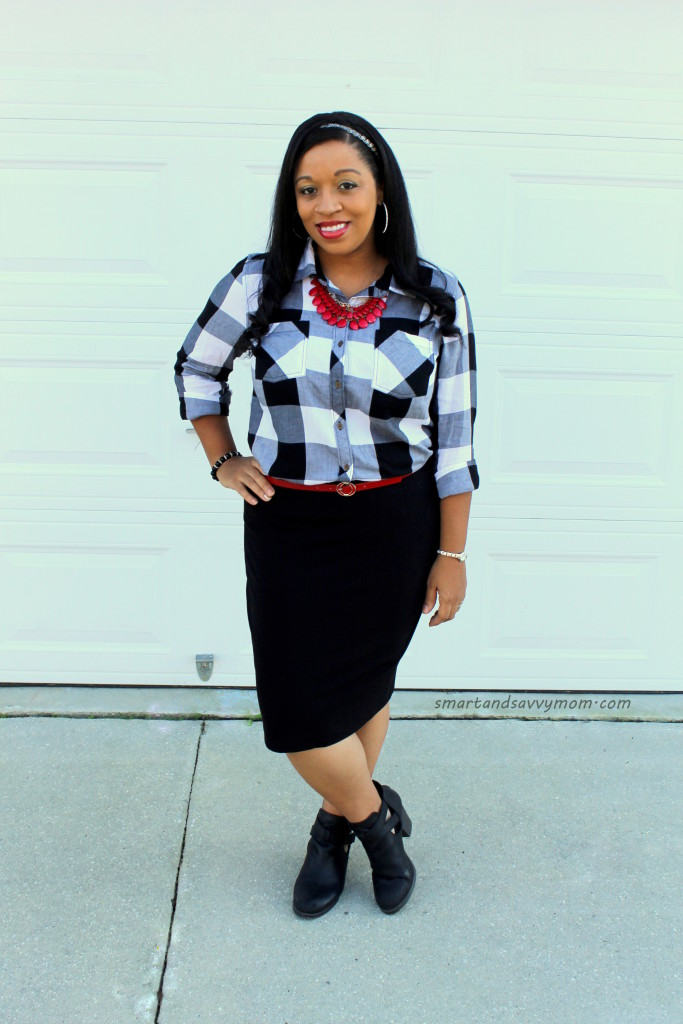 black and white buffalo plaid with pops of red easy modest outfit idea