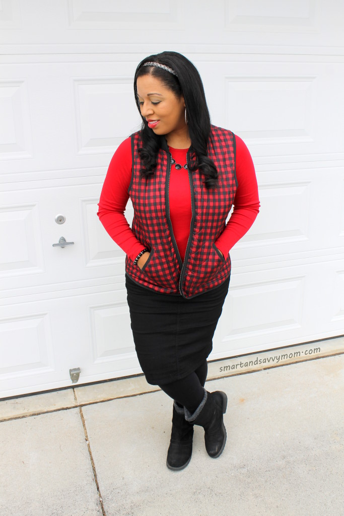 save big on this amazing red and black plaid vest from old navy